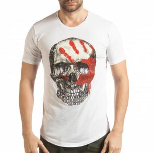 Бяла мъжка тениска с релефен череп