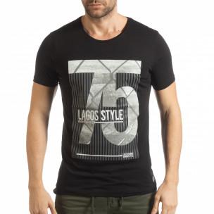 Черна мъжка тениска с принт Lagos Style