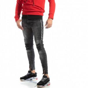 Мъжки Worn Jeans в сиво с акценти