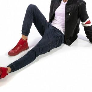 Син карго панталони с ластик на глезена 2
