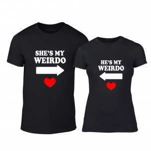 Тениски за двойки Weirdo черни