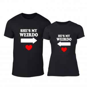 Тениски за двойки Weirdo черни TEEMAN