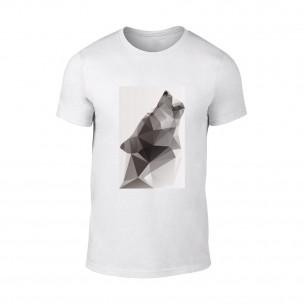 Мъжка бяла тениска  с черно-бял принт Wolf
