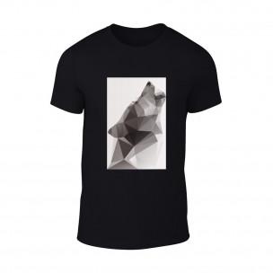 Мъжка черна тениска  с черно-бял принт Wolf