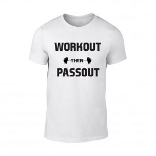 Мъжка бяла тениска Workout