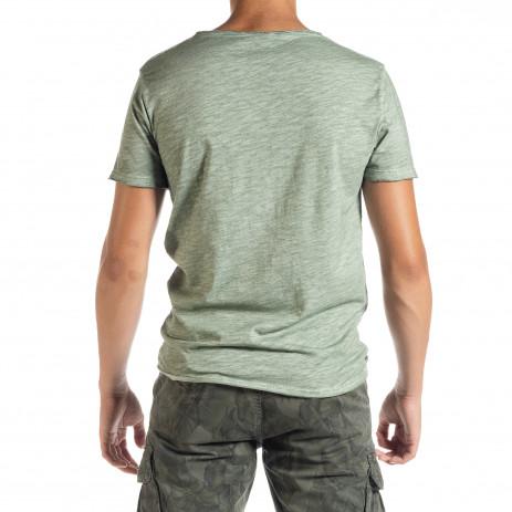 Мъжка тениска от памук и лен в зелено 2