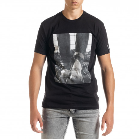 Черна мъжка тениска с принт