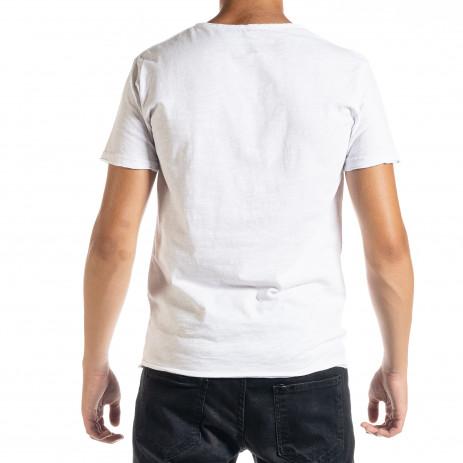 Мъжка тениска от памук и лен в бяло 2