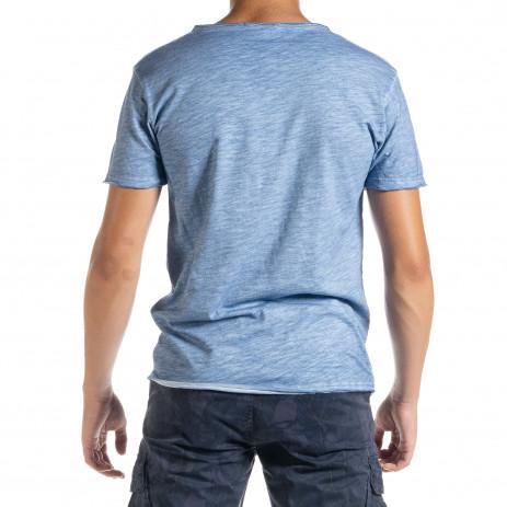 Мъжка тениска от памук и лен цвят деним 2