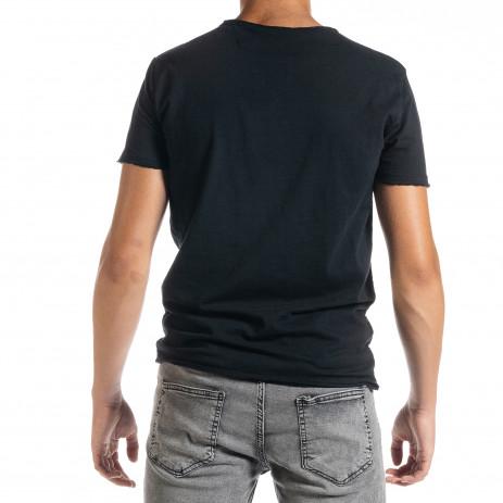 Мъжка тениска от памук и лен в черно 2