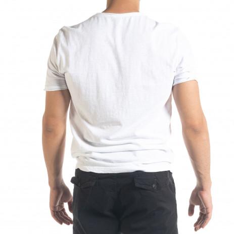 Бяла мъжка тениска от памук и лен 2