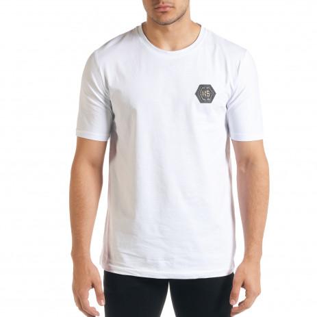 Бяла мъжка тениска с принт на гърба 2