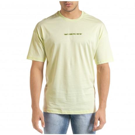 Мъжка зелена тениска с колоритен принт 2