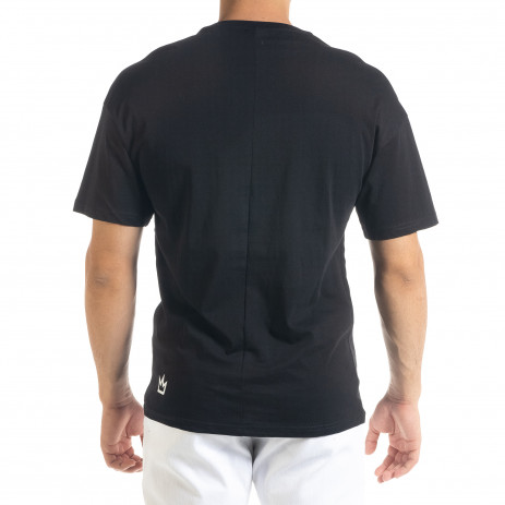 Мъжка черна тениска с джоб 2