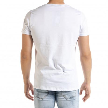 Бяла мъжка тениска с прозрачен джоб 2