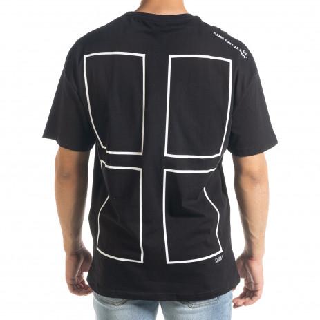 Черна тениска с графичен принт Oversize 2