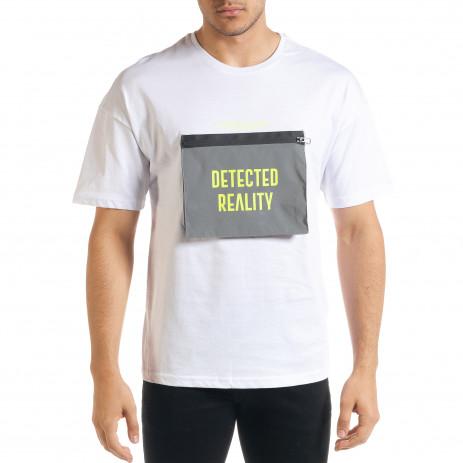 Мъжка бяла тениска с джоб