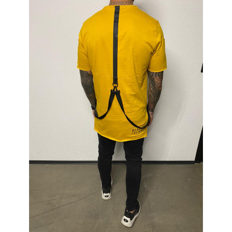 Удължена жълта тениска с акценти 2