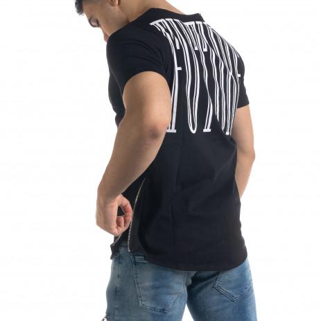 Мъжка черна тениска с ципове