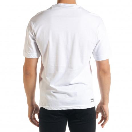 Бяла мъжка тениска с йероглифи 2
