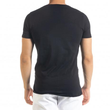 Черна мъжка тениска с прозрачен джоб 2