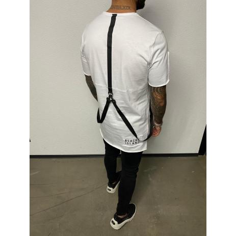 Удължена бяла тениска с акценти 2