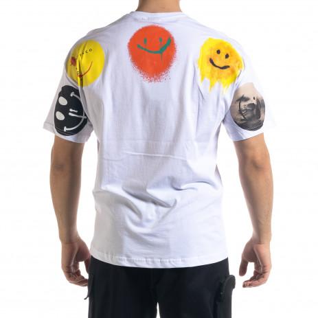 Бяла мъжка тениска Emoticon 2