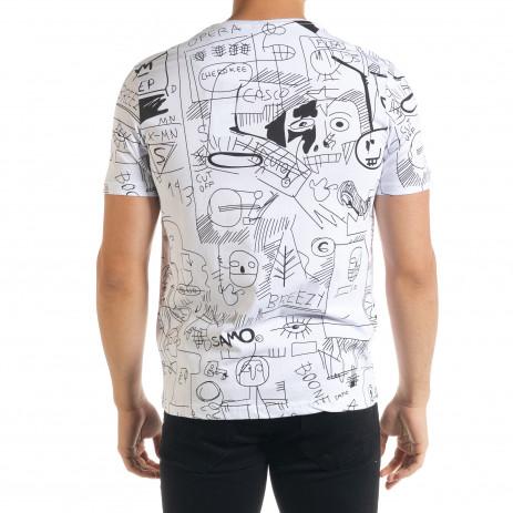 Мъжка бяла тениска с принт Naivety 2