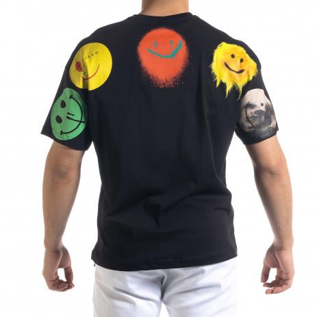 Черна мъжка тениска Emoticon 2