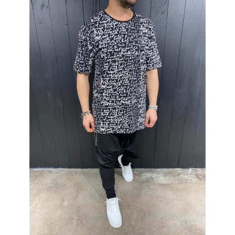 Мъжка черна тениска с принт 2