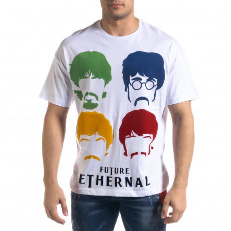Мъжка бяла тениска The Beatles