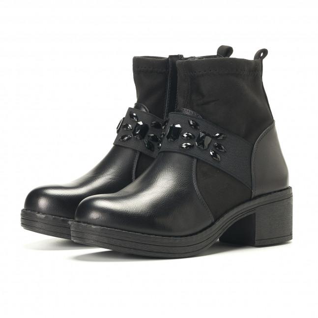 a1ad6c415ad Дамски черни боти с черни камъни it251017-12 | Fashionmix.bg