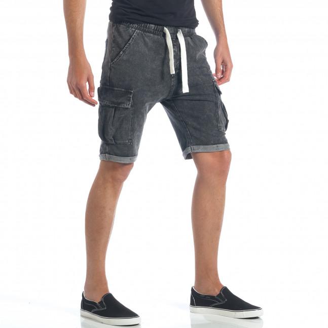 5bf78118ea1 Мъжки сиви шорти с ефект на дънки it190417-21 | Fashionmix.bg