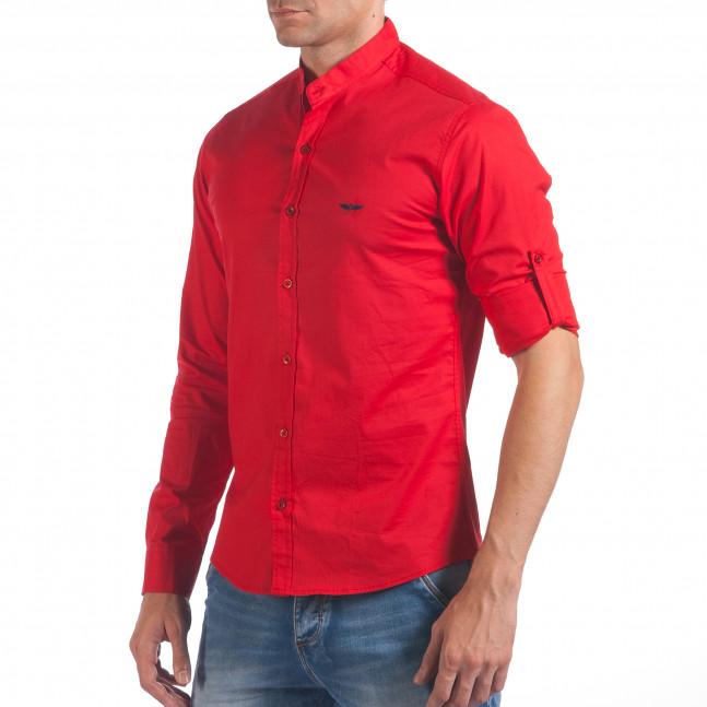 4bdb3218253 Мъжка червена риза с попска яка il060616-108   Fashionmix.bg