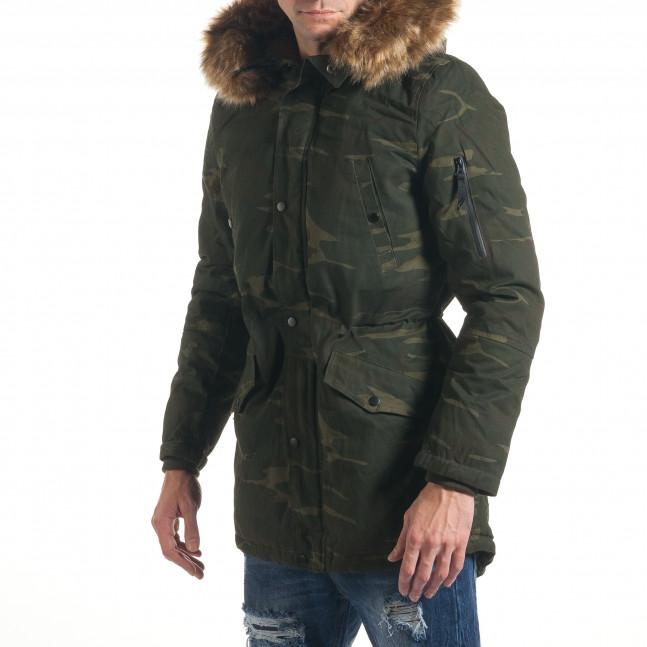 c19ea28c399 Мъжко зимно яке парка тъмно зелен камуфлаж it211116-25 | Fashionmix.bg