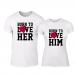 Тениски за двойки Born to love бели TMN-CP-211 2
