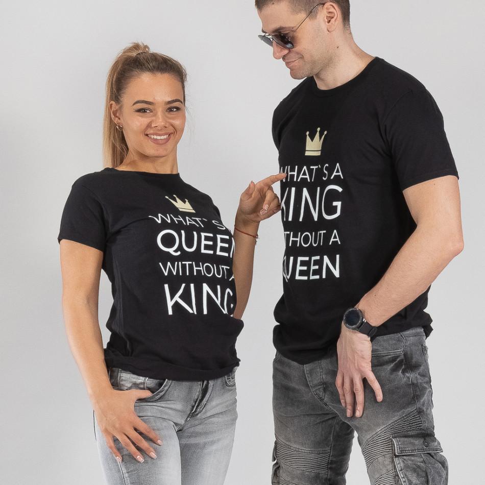 1520e2bf5daf GrabitApp  Μπλουζες για ζευγάρια What Is King μαύρο