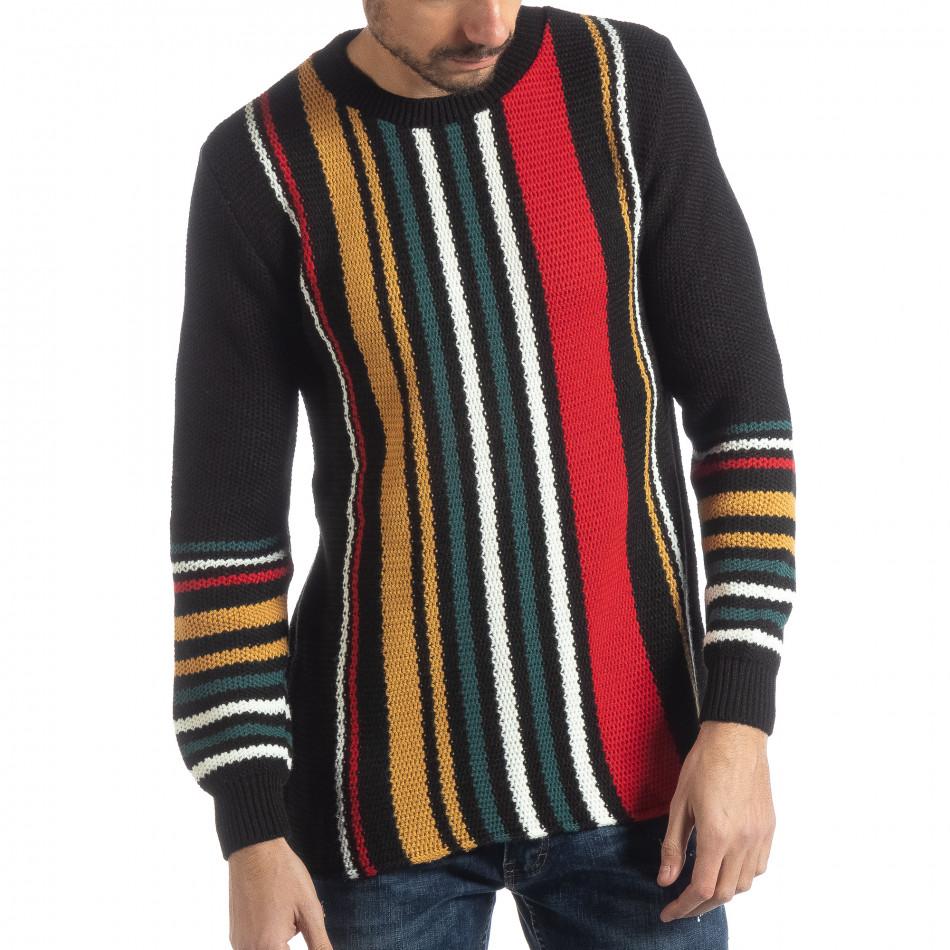 Ανδρικό μαύρο πουλόβερ με πολύχρωμο ριγέ
