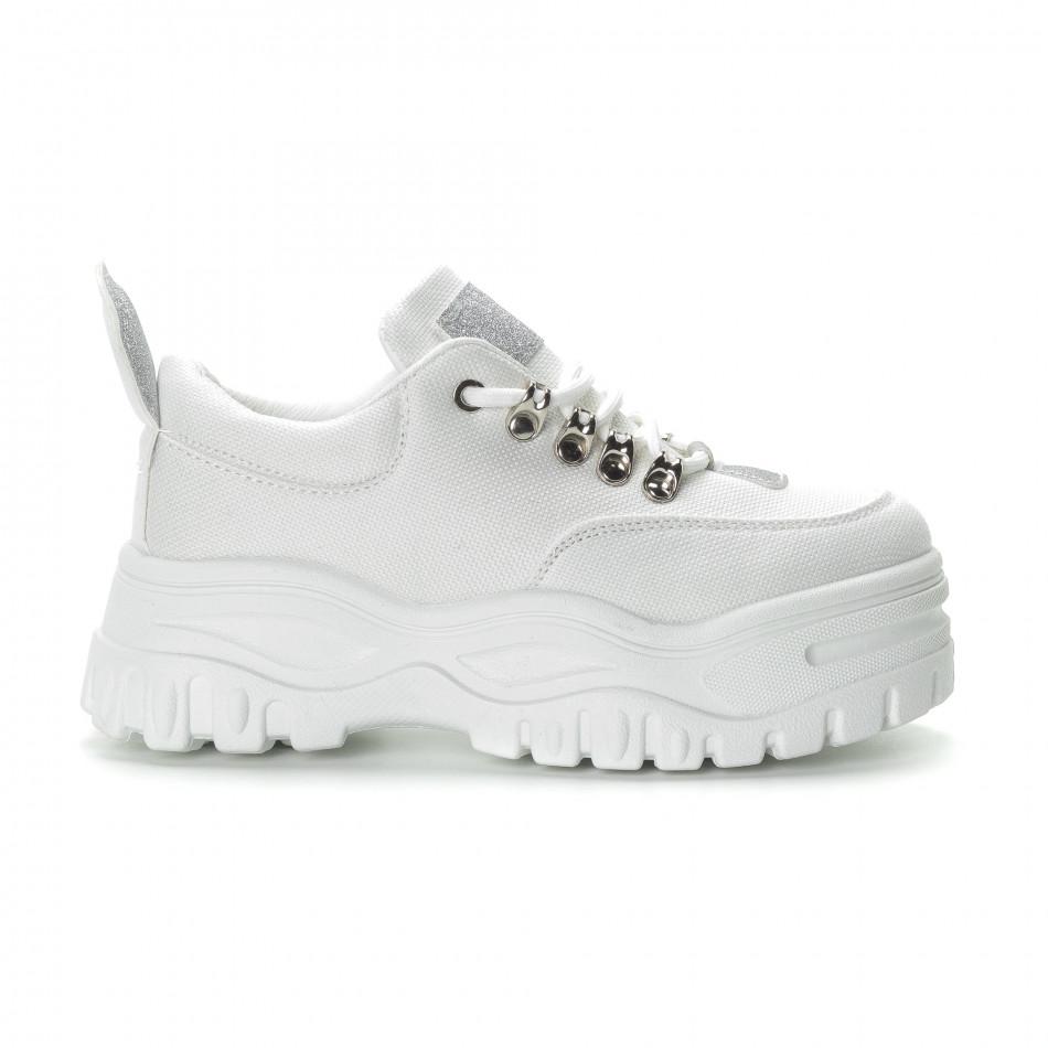 7f6ea324b3c -20% Fashionmix Γυναικεία λευκά αθλητικά παπούτσια με λεπτομέρειες  χρυσόσκονης