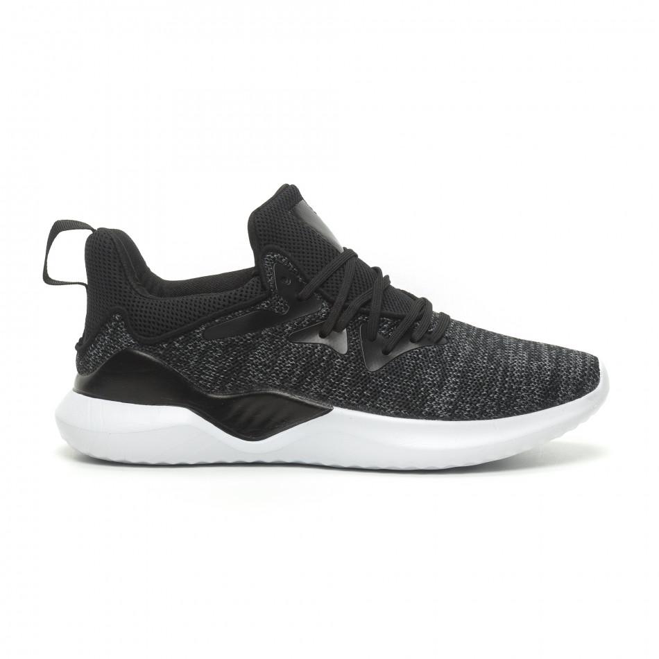 041e75603f5 Ανδρικά μαύρα μελάνζ αθλητικά παπούτσια πλεκτό μοντέλο