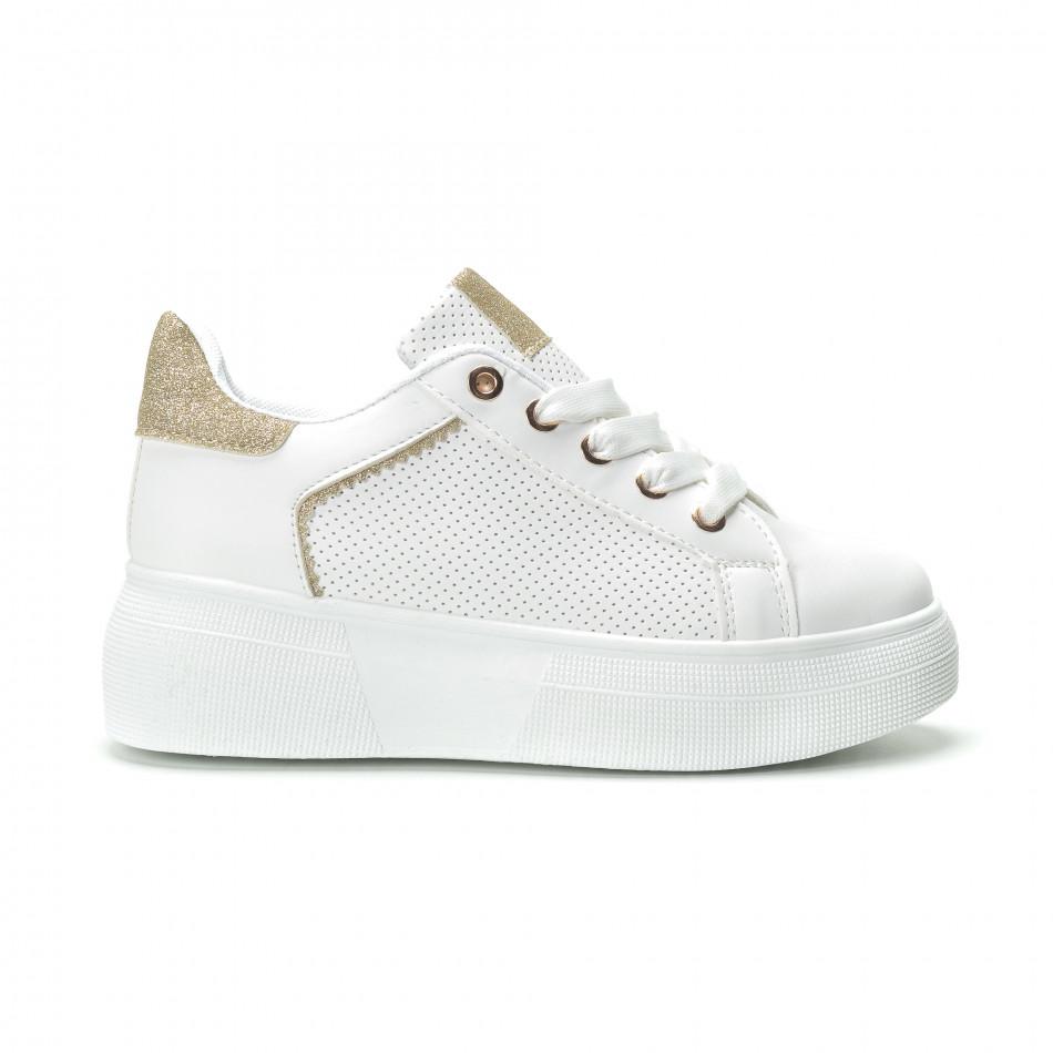 Γυναικεία λευκά sneakers με λεπτομέρειες από χρυσόσκονη 9360f3dfbd3