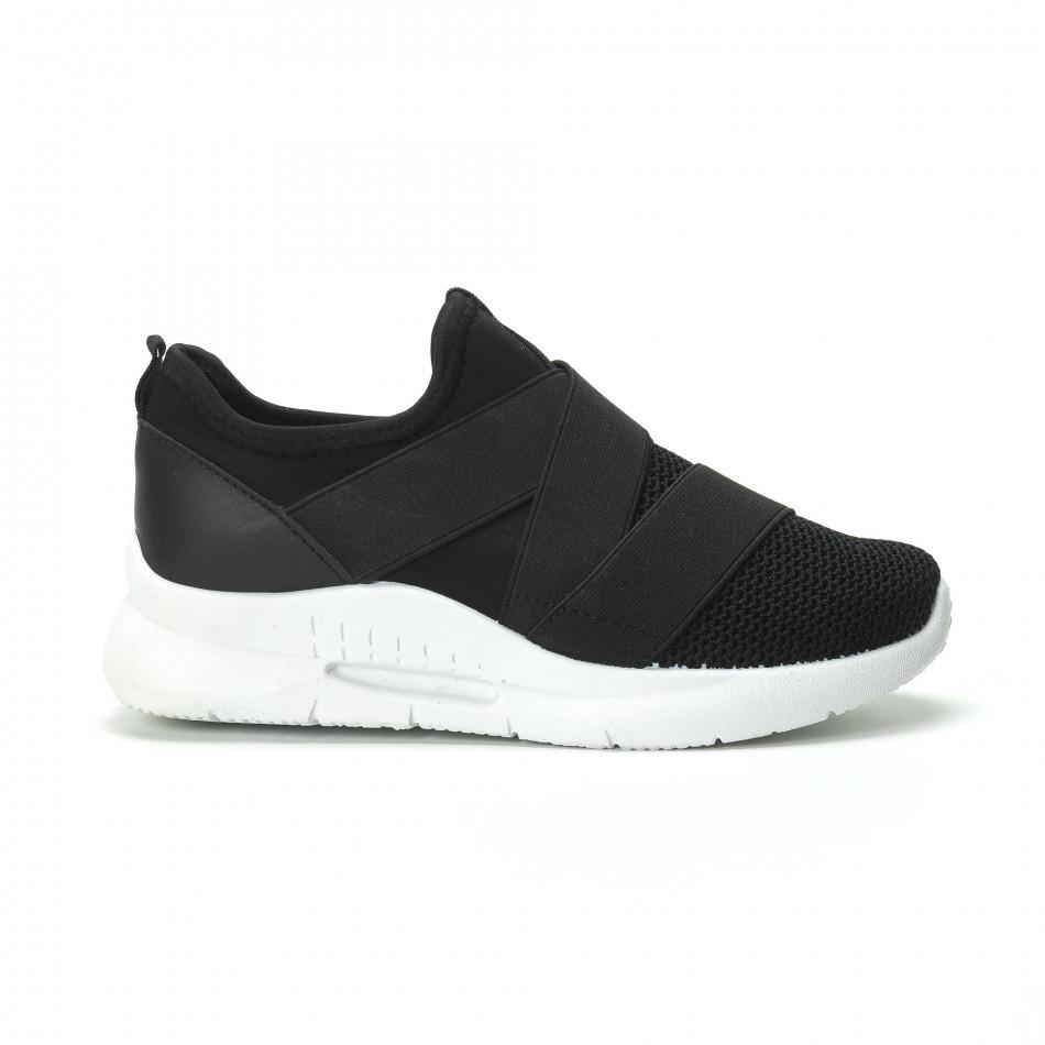d300ddf29dc Slip-on γυναικεία μαύρα sneakers με λάστιχα