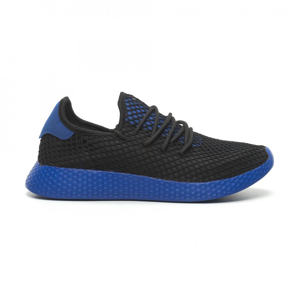 26343c380d6 Fashionmix Ανδρικά μαύρα αθλητικά παπούτσια Mesh με μπλε λεπτομέρειες