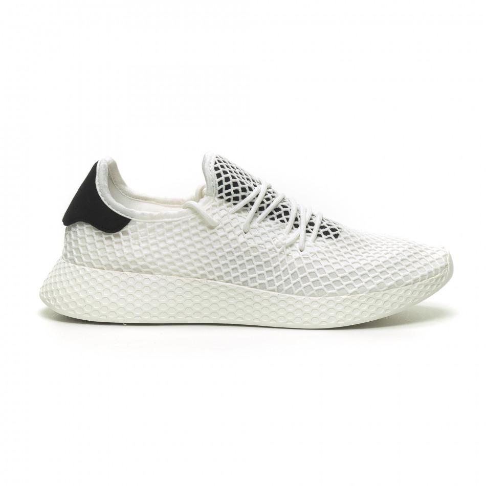 f9456da5f78 Fashionmix Ανδρικά λευκά αθλητικά παπούτσια Mesh με μαύρες λεπτομέρεις