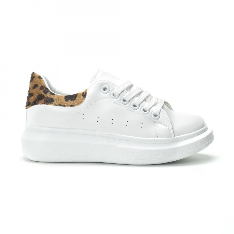 Fashionmix Γυναικεία λευκά sneakers με λεοπάρ λεπτομέρεια f47a5d1cf35