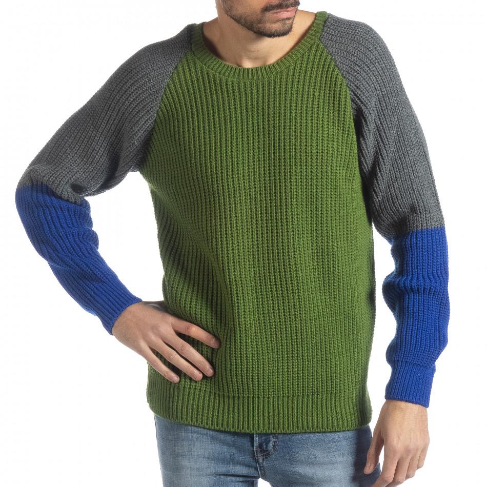 Ανδρικό πουλόβερ σε πράσινο, γκρι και μπλε