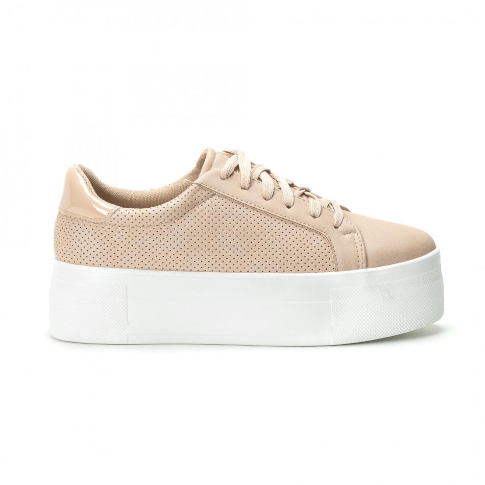 Γυναικεία μπεζ sneakers με πλατφόρμα