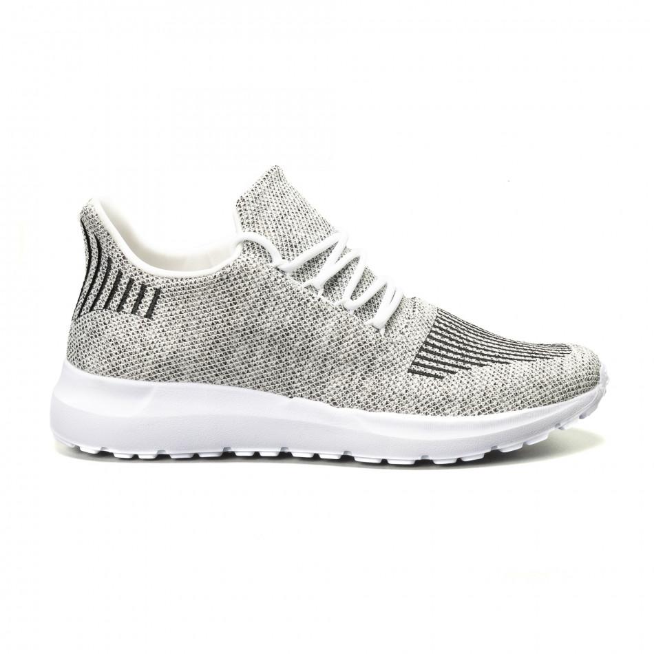 69ff2a623a1 Ανδρικά λευκά μελάνζ αθλητικά παπούτσια