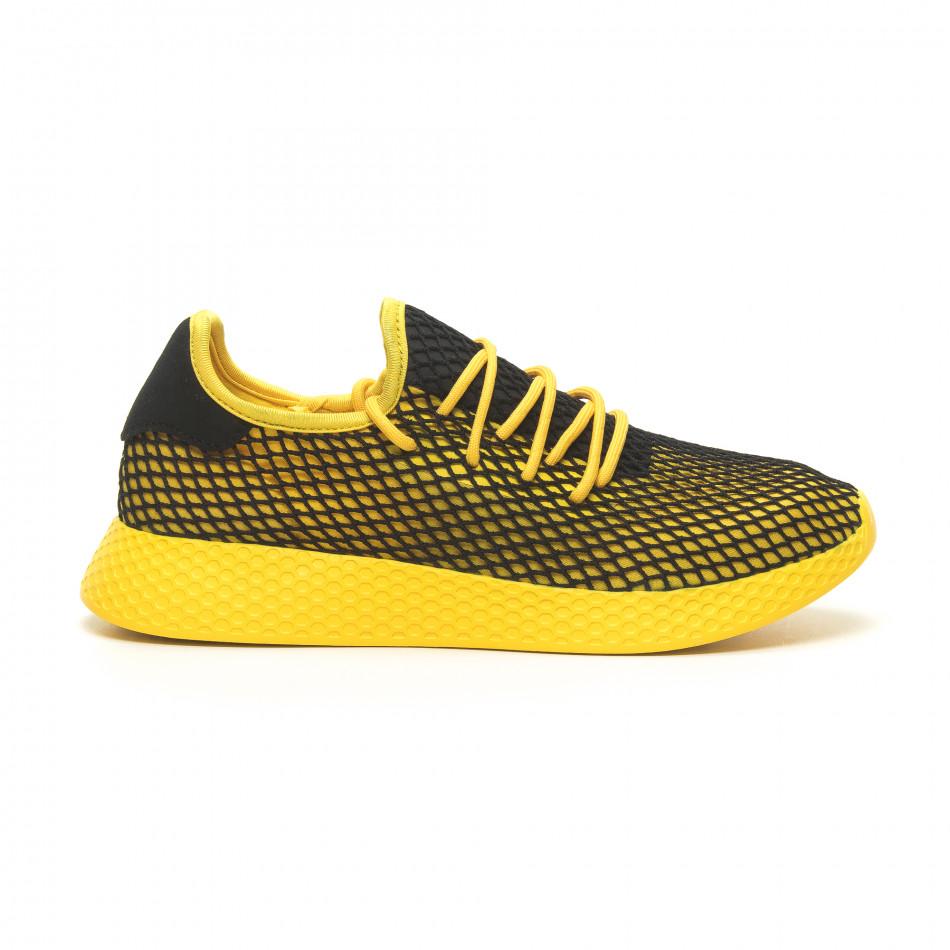 e5c5d41a2aa6 Fashionmix Ανδρικά κίτρινα αθλητικά παπούτσια Mesh με μαύρες λεπτομέρειες