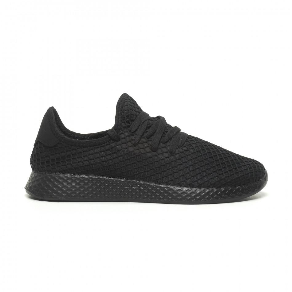 Ανδρικά μαύρα αθλητικά παπούτσια Mesh ελαφρύ μοντέλο